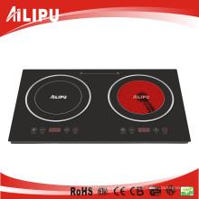 Batterie de cuisine à deux brûleurs d'appareil de chauffage infrarouge