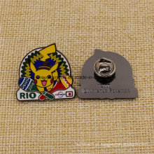 Emblema olímpico personalizado do Pikachu Rio 2016 do esmalte duro da promoção