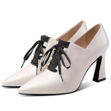 Lace up Custom Womens Shoes Women Genuine Leather Shoes