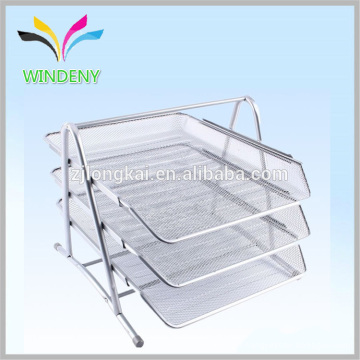 Silver Metal Bandeja de 3 camadas, Plexiglass Office File Stacking Tray
