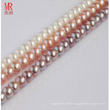 9-10mm Cultured Pearl Strands, White, Pink, Lavender, Button Round