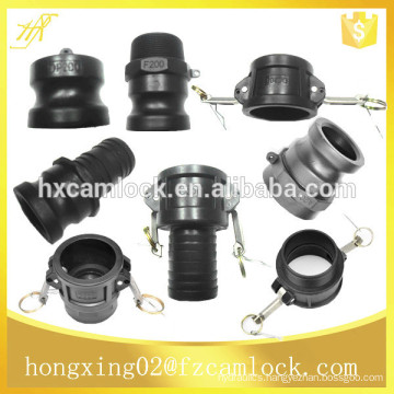 Plastic camlock fittings, camlock coupling manufacture, part A B C D E F DC DP