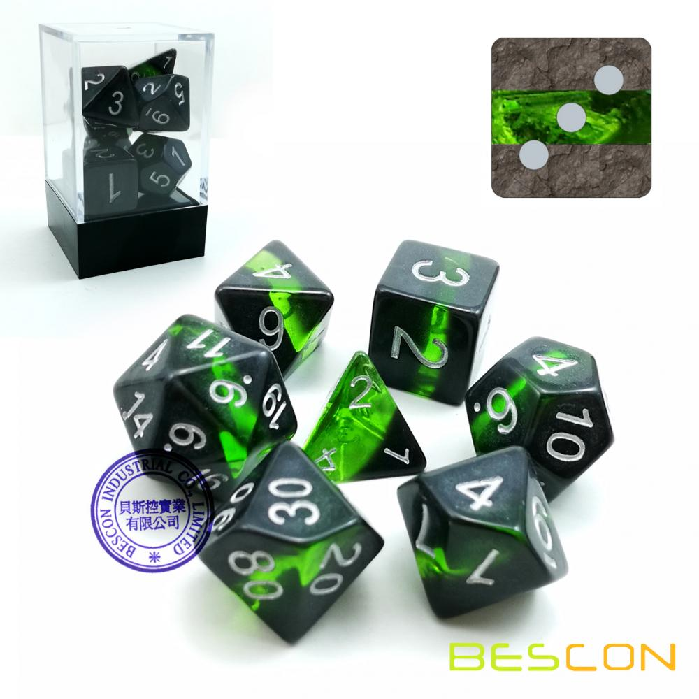 Bescon Mineral Rocks GEM VINES Polyhedral D&D Dice Set of 7, RPG Role Playing Game Dice 7pcs Set of EMERALD