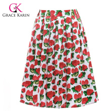 19 Colors ! Grace Karin Colorful Cheap Occident Short Retro Vintage Cotton 50s Drawberry Print Skirt CL6294-17#