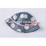 Guangzhou fast shiping classic linen custom brim sun hat with polka dots