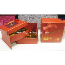 Caja de embalaje de chocolate de dos capas con ventana de plástico
