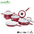 8 Pieces Ceramic Coating Silicone Handle Cookware Set