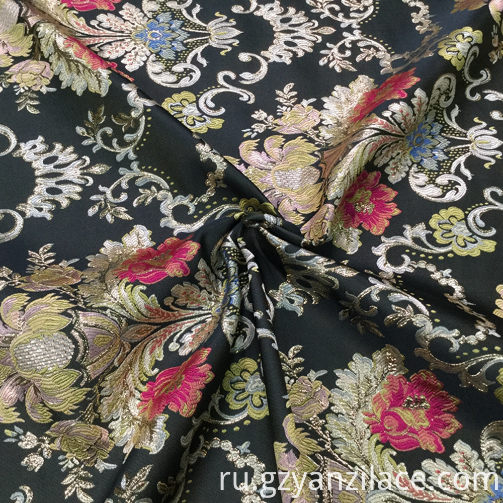 Black Flower Jacquard Brocaed Fabric for Dress