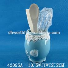 Hermoso porta utensilios de cocina de cerámica