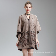Womens Cashmere fühlen Blumendruck Fancy Cape Stola Poncho Schal (SP297)