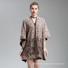 Женские кашемир чувствовать цветок печати модные Мыс украл пончо шали (SP297)