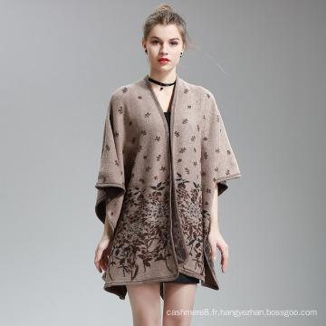 Cachemire Feel impression de fleurs châle de poncho étole cape fantaisie (SP297)