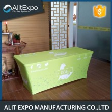 Decorative trade show advertised table cover
