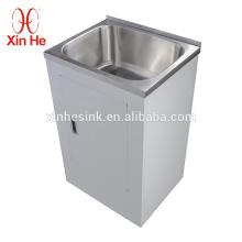 Dissipador da lavanderia da bacia do SUS 304 do aço inoxidável único com armário, 30L, 38L, 45L