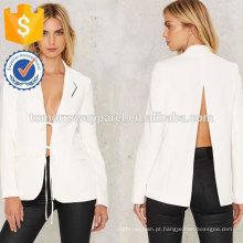 Branco Fenda de Volta e Relaxar Jaqueta OEM / ODM Fabricação Atacado Moda Feminina Vestuário (TA7006J)