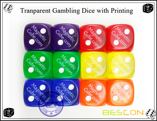 Tranparent Gambling Dice with Printing