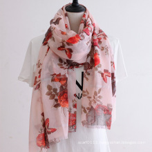 Lady Fashion Floral Printed Cotton Silk Scarf (YKY1144)