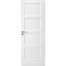 Puerta de panel MDF blanco interior estilo simple con estilo y rieles