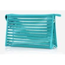 Мода полосатая прозрачная косметическая сумка для мытья туалетных принадлежностей из ПВХ (YKY7534)
