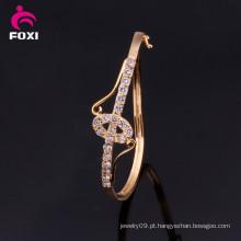White CZ Inlay Bangle Bridal indiano pulseira de ouro puro banhado