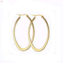 Pakistani Fancy Design Drop Without Stone Jewelry Stainless Steel Plated Gold Hoop Earring
