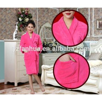 high quality fashion microfiber fleece super soft bathrobe