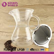 Manual de 2 tazas de café gotero con vidrio de borosilicato 650 ml con tapa de color negro manga