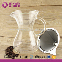 Dripper do café do copo do manual 2 com a luva preta combinada Cara da cor do vidro 650ml de Borosilicate com
