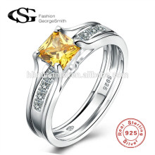 Mode-Designs Diamant-Ring 925 Sterling Silber Ringe weißen Zirkon Hochzeit Sterling Silber Ring