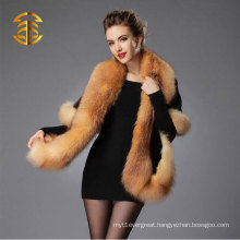 2015 Hot sale Elegant Women's Luxuries Genuine Mink Fur with Fox Fur Trim Shawl for Evening Dress