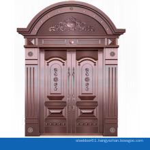House exterior door arch top double wrought iron door