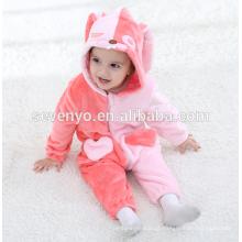 Macio bebê Flanela Romper Animal Onesie Pijamas Outfits Terno, desgaste do sono, bonito pano rosa, toalha de bebê com capuz