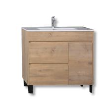 Свободно стоящий шкаф для ванной комнаты из МДФ с керамической раковиной
