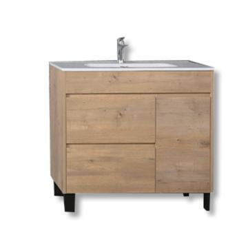 Freistehender MDF-Badezimmerschrank mit Keramikwaschbecken