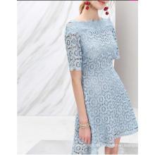 Blumen-Spitze off-Shoulder Light Blue Halbe Hülse Frauen Kleid
