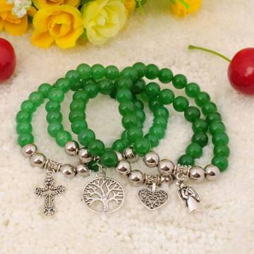 Natural Green Aventurine Bracelet Gemstone jewelry alloy pendants
