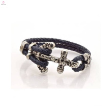2 Layers 5mm Thick Men's Design Anchor Leather Bracelet