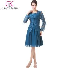 Grace Karin de dos piezas Set Lace & Madre de gasa de la novia se viste CL6235