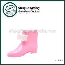 Jelly Rain Boots With Lovely Bow Wedge Heel PVC Rain Boots Machinery SGX-504