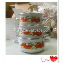 3Pcs coating bumper fruit decal mini enamel cookware casserole sets with wooden knob glass Lid and enamel handle