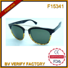 F15341 Moda de alta calidad PC y círculo de Metal marco gafas de sol