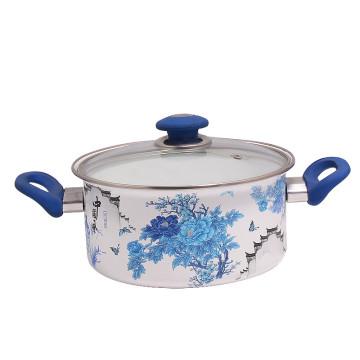 28cm Enameamazing 28cm Enamel Sauce Pan with Glass Cover