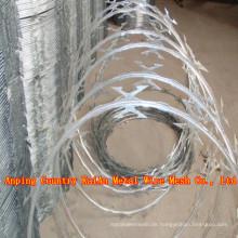 Verzinkter Concertina Bared Drahtzaun / verzinkter Rasiermesser Draht / PVC beschichteter Rasiermesser / Stacheldraht (30 Jahre Fabrik)