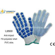 T / C Shell Latex Dots Защитные рабочие перчатки (L9500)