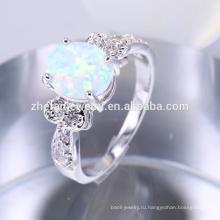 Искусственный Латунь белый огненный опал каменное кольцо ювелирных изделий