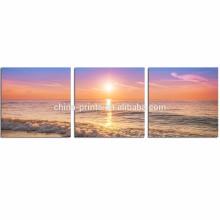 Sunrise en la lona de la playa enmarcada / las imágenes de la pared del paisaje marino para la sala de estar / 3 pedazos de las pinturas del arte moderno
