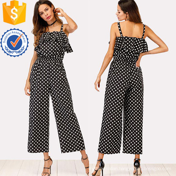 Black Ruffle Trim Polka Dot Jumpsuit OEM/ODM Manufacture Wholesale Fashion Women Apparel (TA7017J)