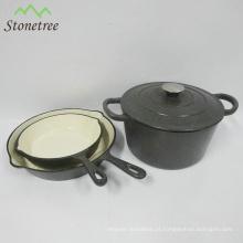 O melhor jogo de venda do caçarola do esmalte do potenciômetro do ferro fundido do Cookware