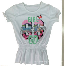 Fashion Girl Kids Clothes Flower T-Shirt with Printing in Children Clothes Sgt-040