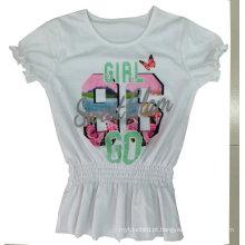 A menina da forma caçoa o t-shirt da flor da roupa com impressão na roupa Sgt-040 das crianças